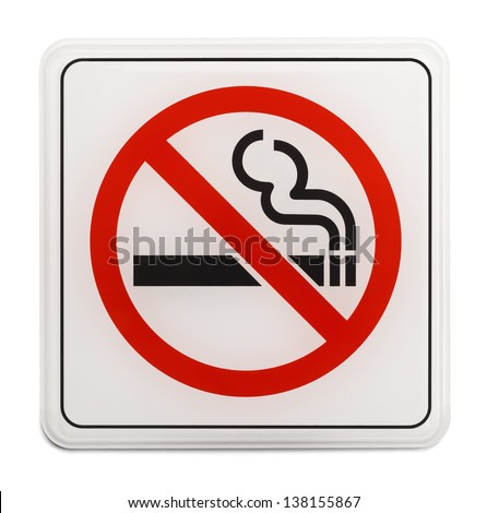 Square Red and Black No Smoking Sign Isolated on White Background.
