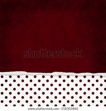 Square Red and White Polka Dot Torn Grunge Textured Background with copy space at top - stock photo