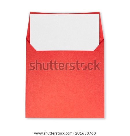 Square red envelope open and white paper on a white background. - stock photo
