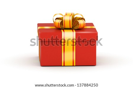 Square red gift box with yellow ribbons on white background - stock photo