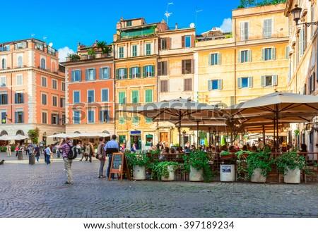 Square Santa Maria in Trastevere, Rome. Italy - stock photo
