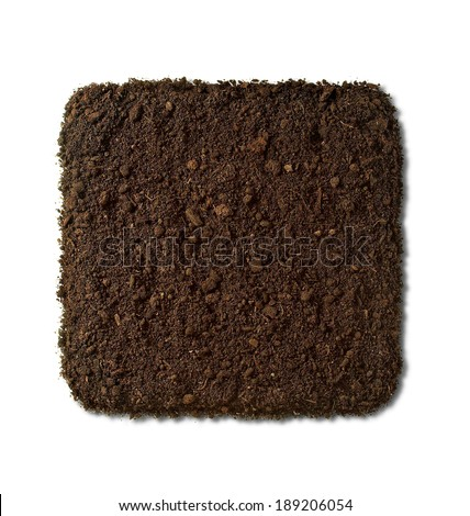square-shaped earth heap with shadow on white. - stock photo