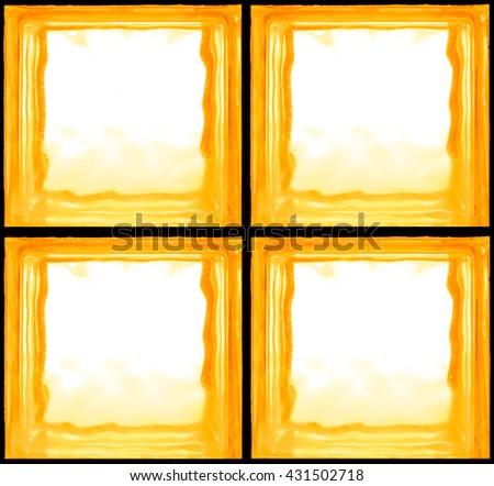 Square shaped of amber glass bricks - Seamless pattern Background - stock photo