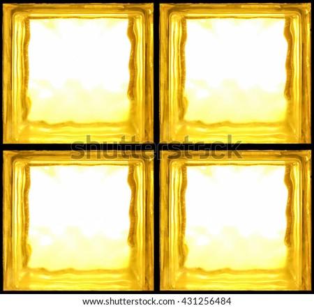 Square shaped of Yellow glass bricks - Seamless pattern Background - stock photo