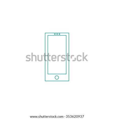 Square smartphone. Outline symbol on white background. Simple line icon