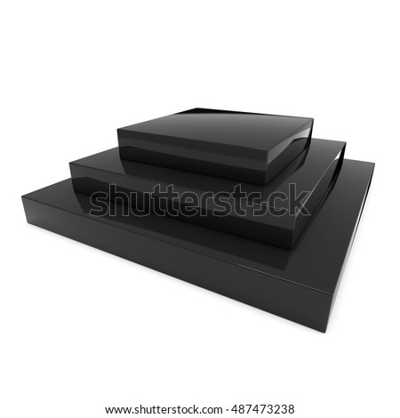 Square stage black podium for award ceremony. 3D render illustration pedestal isolated on whithe background