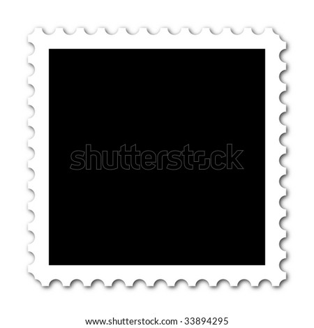 Square stamp with copy space on white background - stock photo