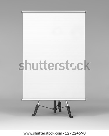 Square Stand on Tripod, Front View on Gray Background. - stock photo