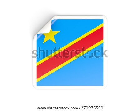 Square sticker with flag of democratic republic of the congo isolated on white - stock photo