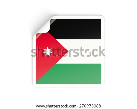 Square sticker with flag of jordan isolated on white