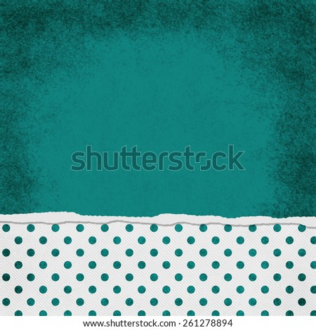 Square Teal and White Polka Dot Torn Grunge Textured Background with copy space at top - stock photo