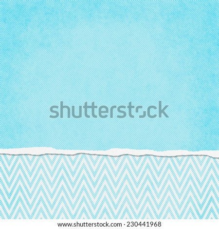 Square Teal and White Zigzag Chevron Torn Grunge Textured Background with copy space at top - stock photo