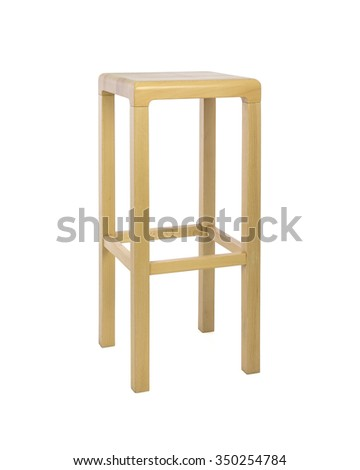 Square Top Wooden Stool Three Quarter View on White Background