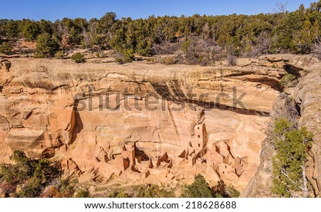 Square Tower House in Mesa Verde National Park, Colorado, wide view - stock photo