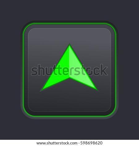 Square Button Green Arrow On Black Stock Illustration 598698620