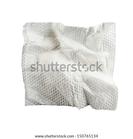 Square used napkin, isolated on white. - stock photo