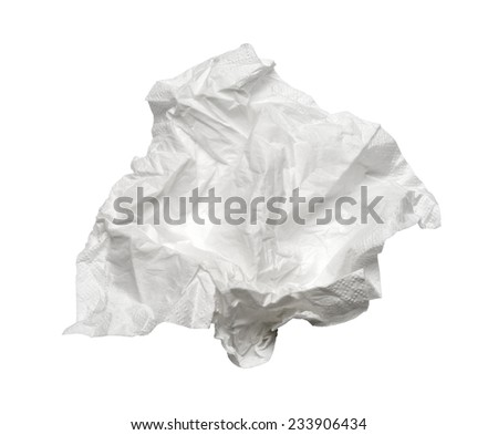 Square used napkin, isolated on white. With clipping path - stock photo