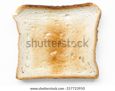 square well fried toast isolated on white
