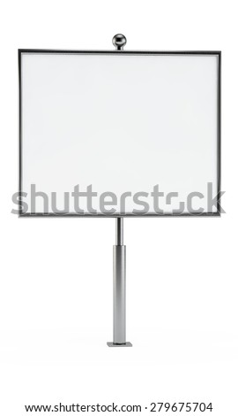 square white billboard with a blank space for your design on a column - stock photo