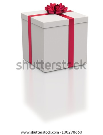 Square white gift box with red ribbons on white background