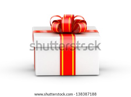 Square white gift box with yellow ribbons on white background