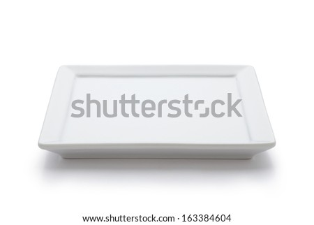 square white plate - stock photo