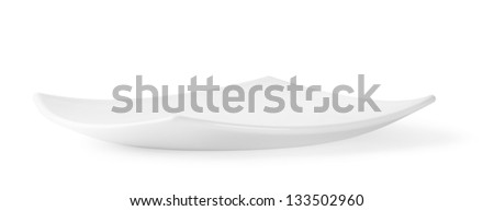 Square white plate isolated on white background - stock photo