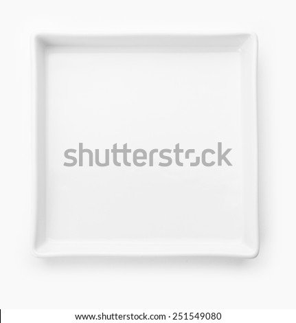 Square white plate on white background  - stock photo