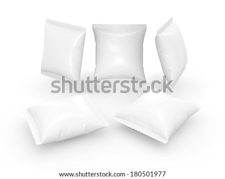 Square white pouch use for your product like snack or food   with clipping path