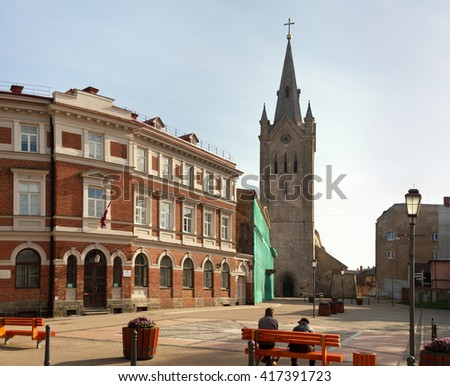 Square with church of Saint John in Cesis,  Latvia,  Europe.