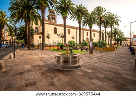 Square with fountain near the church of the Immaculate Conception in La Laguna town on Tenerife island - stock photo