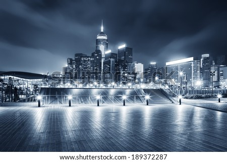 square with night modern building background
