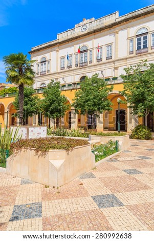Square with town hall building in in Portuguese historic town of Silves, Algarve region, Portugal - stock photo
