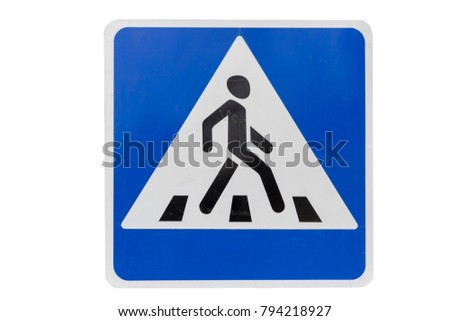 Square with white border road sign 'Pedestrian crossing' isolated on white.