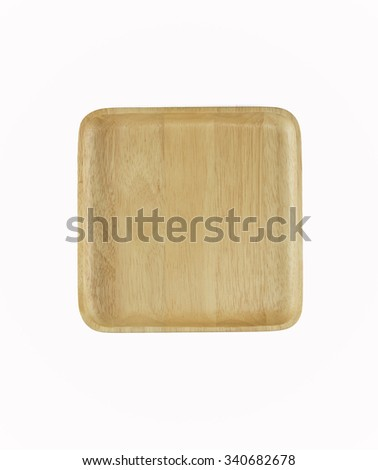 square wooden plate background isolated on white for you design - stock photo