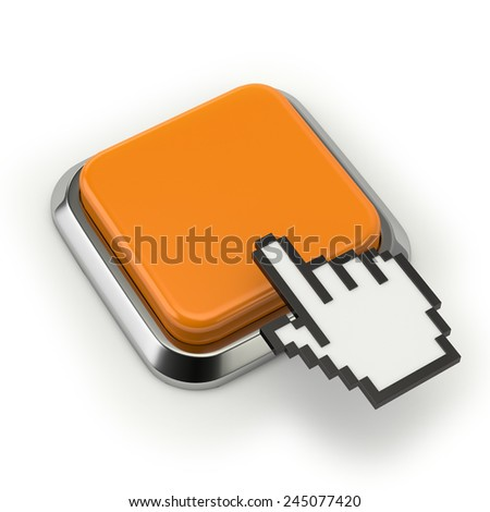 Square yellow button with cursor on white background