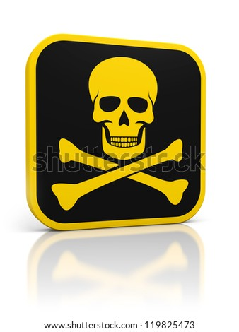 Square yellow deadly danger icon with skull and bones. Isolated on white.