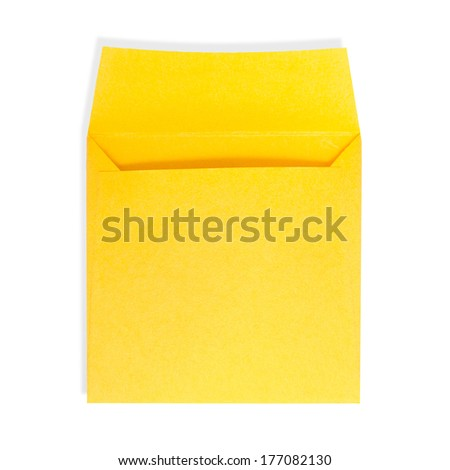 Square yellow envelope open on a white background with clipping path. - stock photo