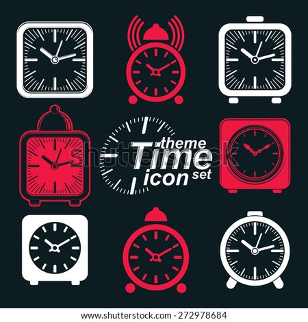 squared 3d alarm clocks with clock bell, decorative wake up conceptual icons collection. Graphic design elements get up theme. Waiter ringing invert symbols. - stock photo
