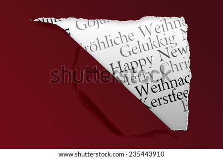 Squared hole in paper against holiday greetings in different languages