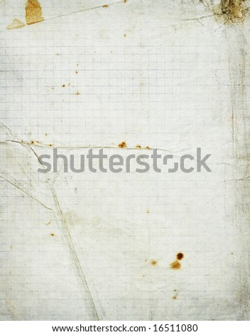 Squared school paper grunge texture with folds and stains - stock photo