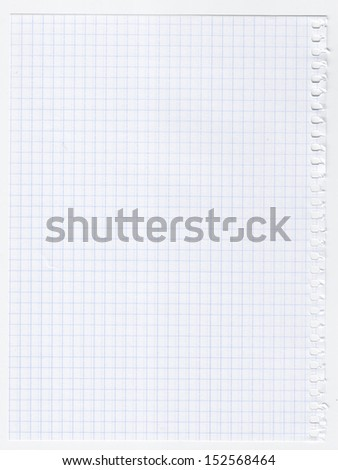 Squared sheet of paper, isolated on white - stock photo