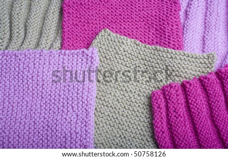 Squares knitted and arranged - stock photo