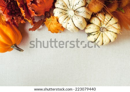 Squash and imitation maple leaves and wild flowers for fall & Thanksgiving themes. Fabric / canvas textured background.  - stock photo