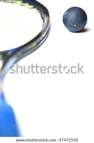 squash ball and a squash racket on white background - stock photo