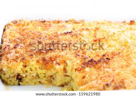 squash & cheese casserole - stock photo