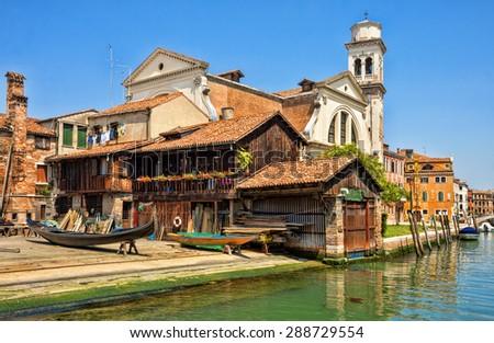 Squero di San Trovaso. Workshop for making gondolas, Venice, Italy - stock photo