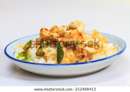 Squid and shrimp fried with chili paste thai style food