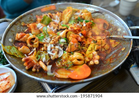 Squid and Vegetable Fried with Kimchi Sauce - stock photo