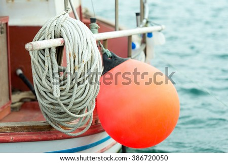 Squid fishing boat - stock photo